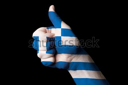 greece national flag thumb up gesture for excellence and achieve Stock photo © vepar5
