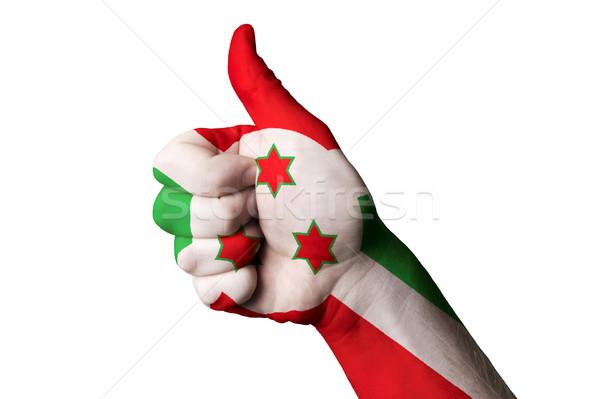 Burundi bandiera pollice up gesto eccellenza Foto d'archivio © vepar5