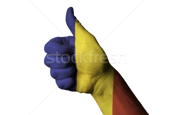 Romênia bandeira polegar para cima gesto excelência Foto stock © vepar5