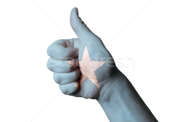 Somalia bandiera pollice up gesto eccellenza Foto d'archivio © vepar5