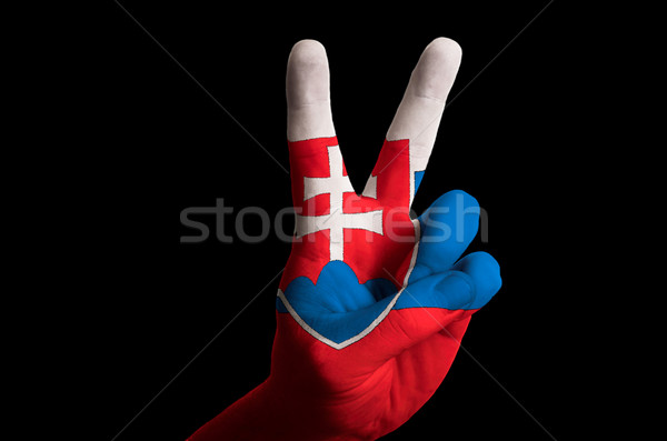 slovakia national flag two finger up gesture for victory and win Stock photo © vepar5