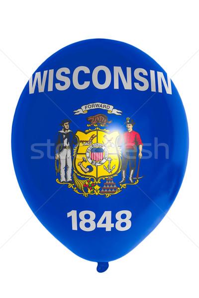 Stok fotoğraf: Balon · renkli · bayrak · amerikan · Wisconsin · mutlu