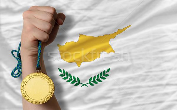 Aranyérem sport zászló Ciprus nyertes tart Stock fotó © vepar5
