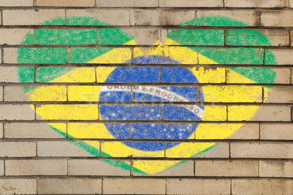 Hartvorm vlag Brazilië muur hart Stockfoto © vepar5