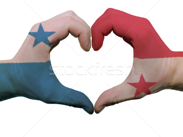 Heart and love gesture in panama flag colors by hands isolated o Stock photo © vepar5