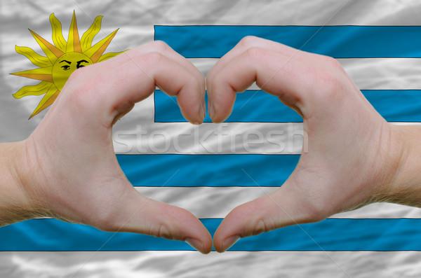 сердце любви жест рук флаг Уругвай Сток-фото © vepar5