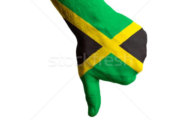 Jamaica vlag duim beneden gebaar mislukking Stockfoto © vepar5