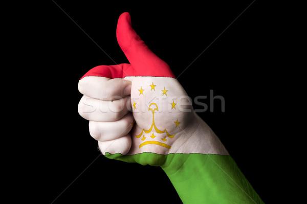 Tagikistan bandiera pollice up gesto eccellenza Foto d'archivio © vepar5