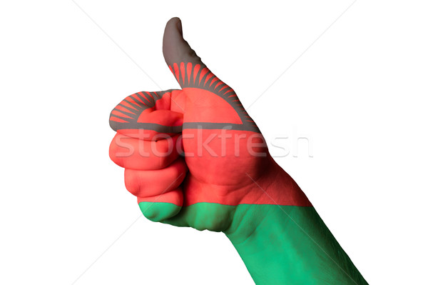 malawi national flag thumb up gesture for excellence and achieve Stock photo © vepar5