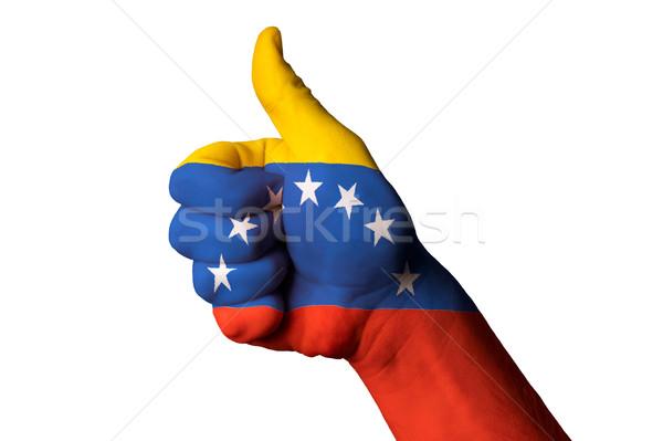 ベネズエラ フラグ 親指 アップ ジェスチャー 卓越 ストックフォト © vepar5