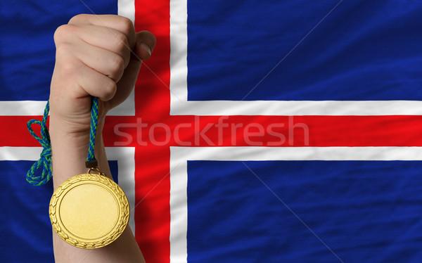 Médaille d'or sport pavillon Islande gagnant Photo stock © vepar5