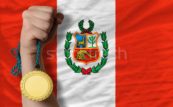 Aranyérem sport zászló Peru nyertes tart Stock fotó © vepar5