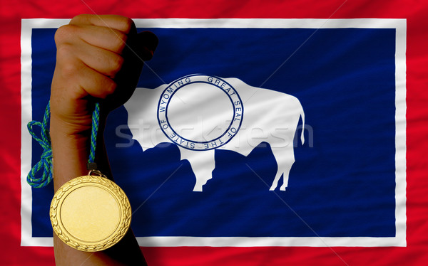 Gold medal for sport and  flag of american state of wyoming    Stock photo © vepar5
