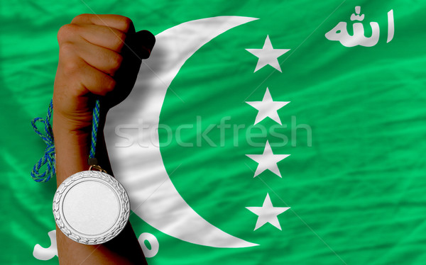 Silver medal for sport and  national flag of  of comoros    Stock photo © vepar5