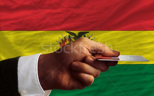 Vásárol hitelkártya Bolívia férfi nyújtás ki Stock fotó © vepar5