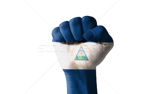 ököl festett színek Nicaragua zászló alacsony Stock fotó © vepar5