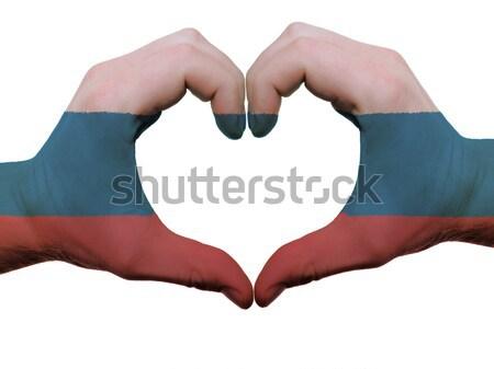 Szív szeretet kézmozdulat kezek zászló Nicaragua Stock fotó © vepar5