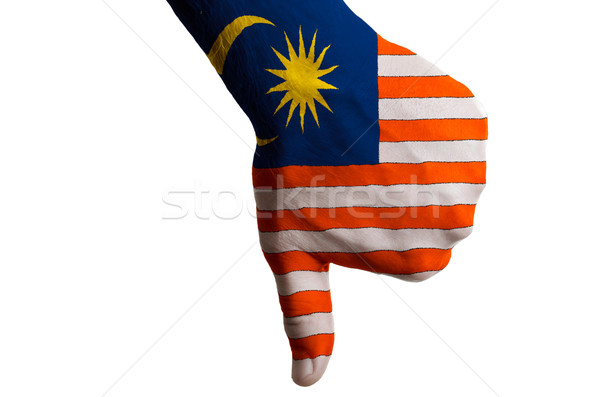 malaysia national flag thumbs down gesture for failure made with Stock photo © vepar5