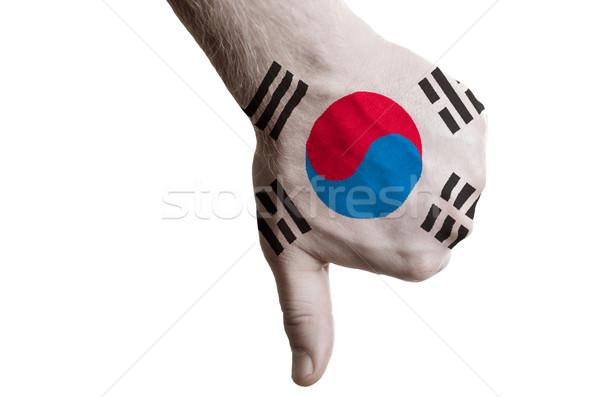 Güney Kore bayrak başparmak aşağı jest başarısızlık Stok fotoğraf © vepar5