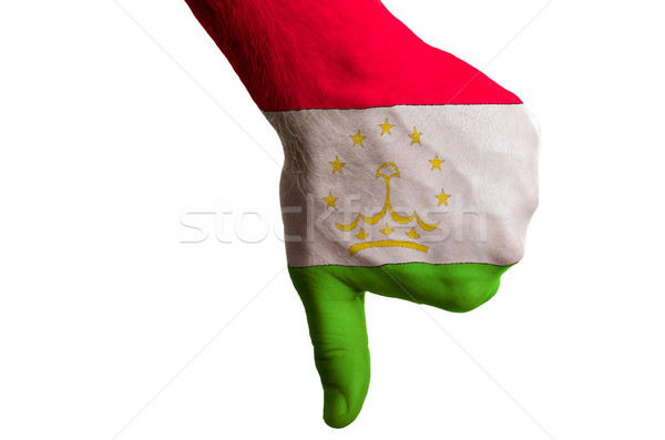 tajikistan national flag thumbs down gesture for failure made wi Stock photo © vepar5