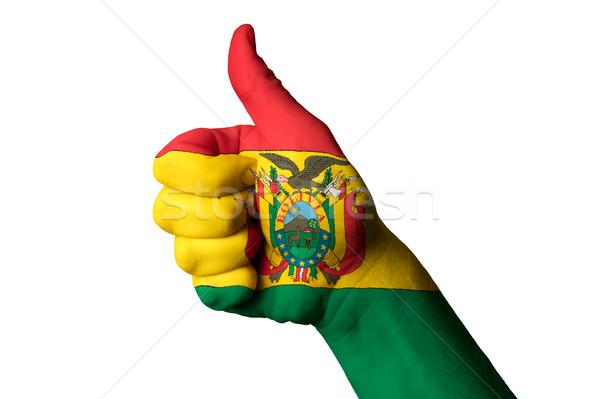 Bolívia zászló hüvelykujj felfelé kézmozdulat kiválóság Stock fotó © vepar5
