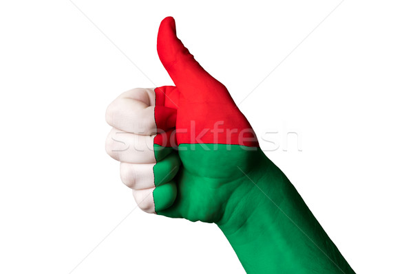 madagascar national flag thumb up gesture for excellence and ach Stock photo © vepar5