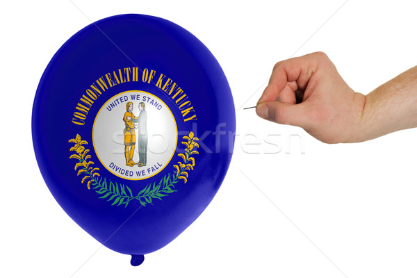 Bursting balloon colored in  flag of american state of kentucky  Stock photo © vepar5