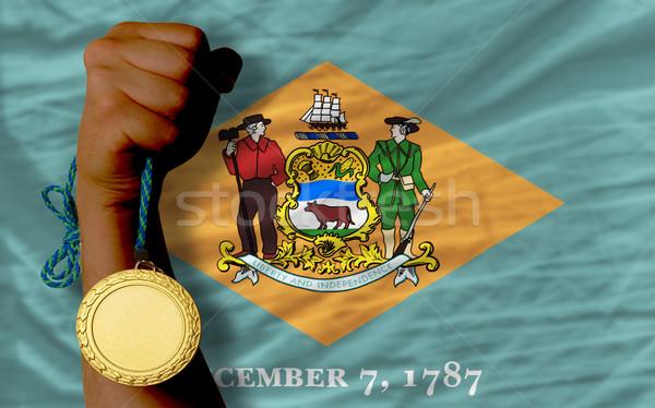 Gouden medaille sport vlag amerikaanse Delaware winnaar Stockfoto © vepar5