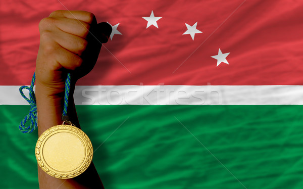 Gold medal for sport and  national flag of  of maghreb    Stock photo © vepar5