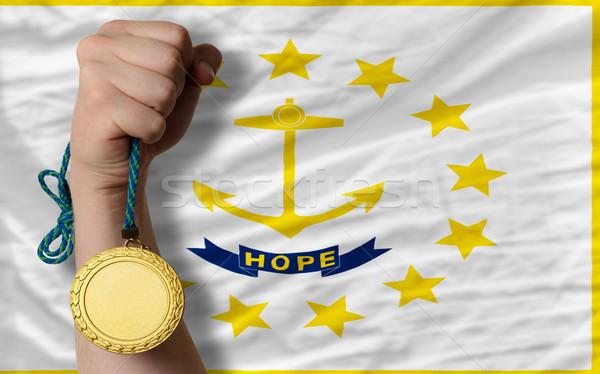 Altın madalya spor bayrak amerikan Rhode Island kazanan Stok fotoğraf © vepar5
