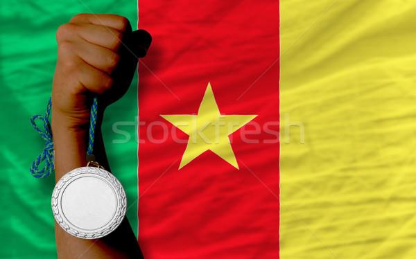 Prata medalha esportes bandeira Camarões Foto stock © vepar5