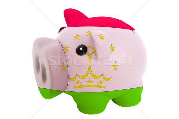 piggy rich bank in colors  national flag of tajikistan    for sa Stock photo © vepar5