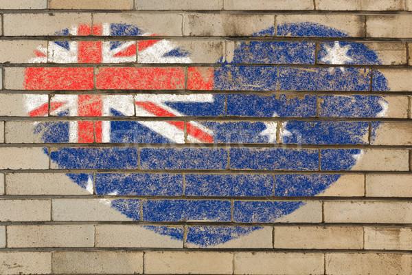 Foto stock: Forma · de · corazón · bandera · Australia · pared · de · ladrillo · corazón