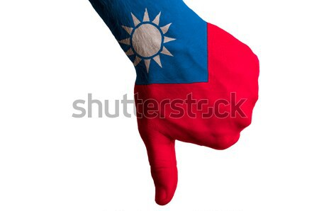 taiwan national flag thumbs down gesture for failure made with h Stock photo © vepar5