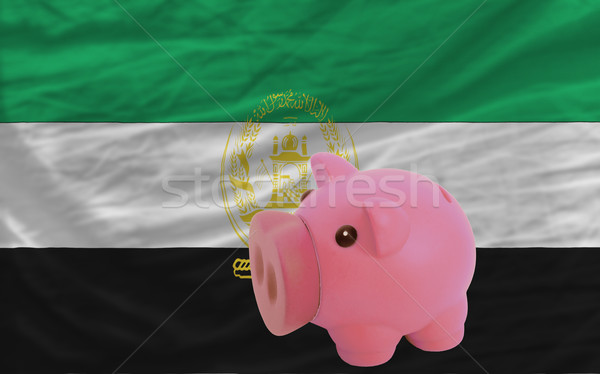 piggy rich bank and  national flag of afghanistan    Stock photo © vepar5