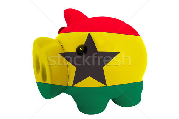piggy rich bank in colors  national flag of ghana    for saving  Stock photo © vepar5