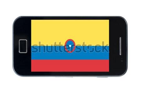 Smartphone banderą Laos telefonu telefon ekranu Zdjęcia stock © vepar5