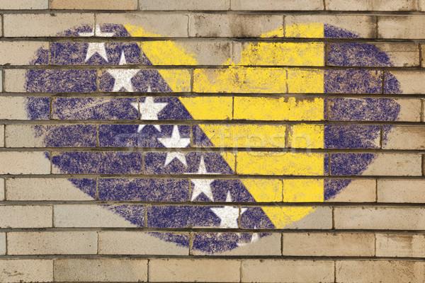 heart shape flag of bosnia herzegovina on brick wall Stock photo © vepar5