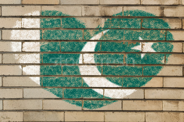 heart shape flag of Pakistan on brick wall Stock photo © vepar5