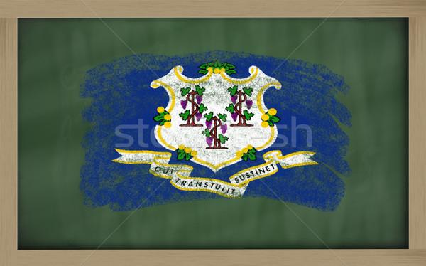 Zászló Connecticut iskolatábla festett kréta amerikai Stock fotó © vepar5
