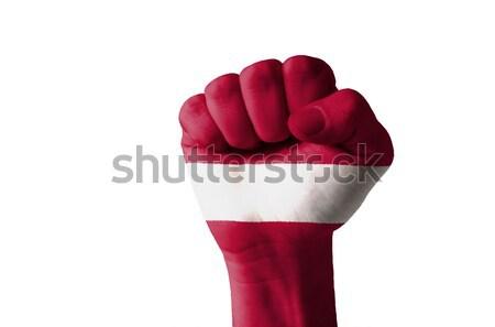 кулаком окрашенный цветами Латвия флаг низкий Сток-фото © vepar5