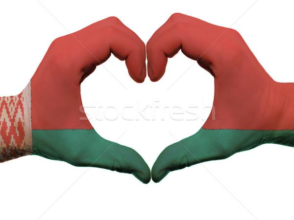 сердце любви жест Беларусь флаг цветами Сток-фото © vepar5