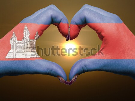 Heart and love gesture showed by hands over flag of cambodia bac Stock photo © vepar5
