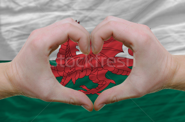 Heart and love gesture showed by hands over flag of wales backgr Stock photo © vepar5