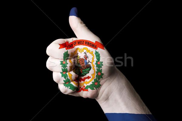 Западная Виргиния флаг большой палец руки вверх жест превосходство Сток-фото © vepar5