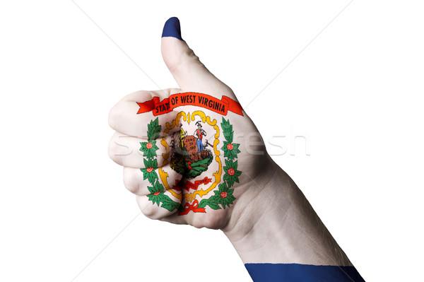 West Virginia bandeira polegar para cima gesto excelência Foto stock © vepar5