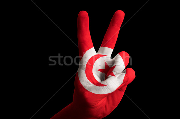 Tunisie pavillon deux doigt up geste Photo stock © vepar5