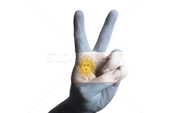 Argentine pavillon deux doigt up geste Photo stock © vepar5