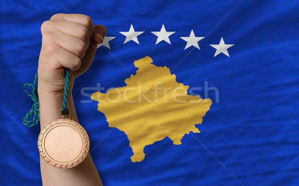 Bronze medal for sport and  national flag of  of kosovo    Stock photo © vepar5