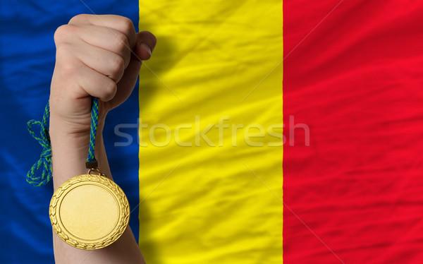 Aranyérem sport zászló Romania nyertes tart Stock fotó © vepar5
